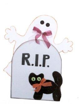Decoración de Fantasma con un Gato de Halloween